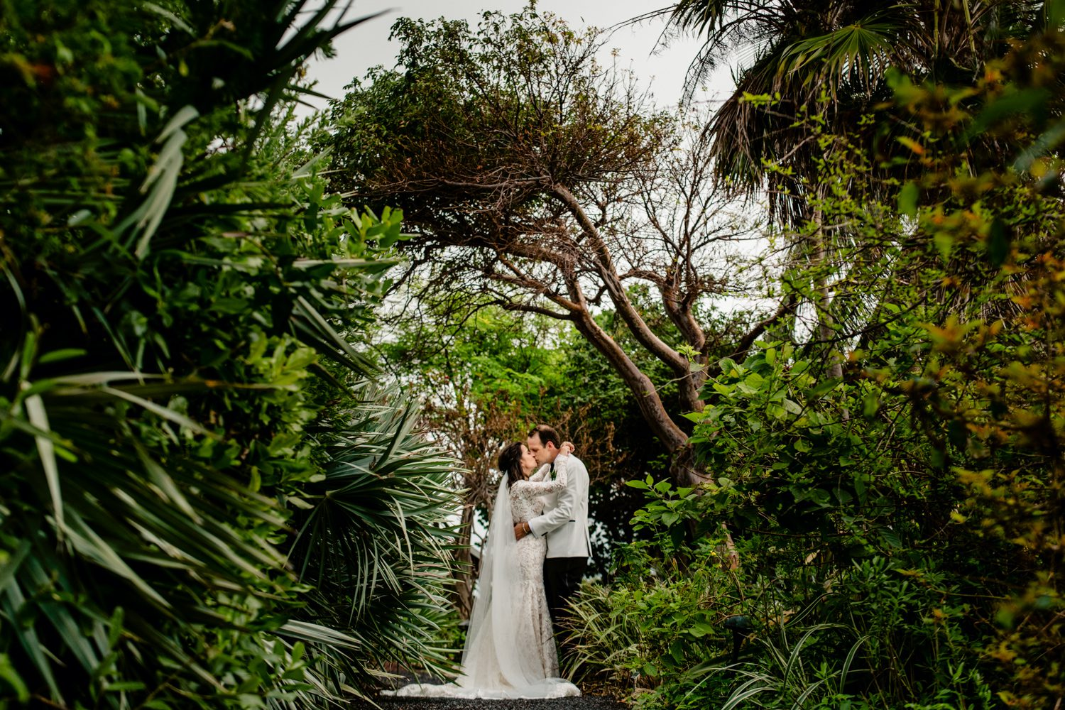 nature portrait of groom and bride