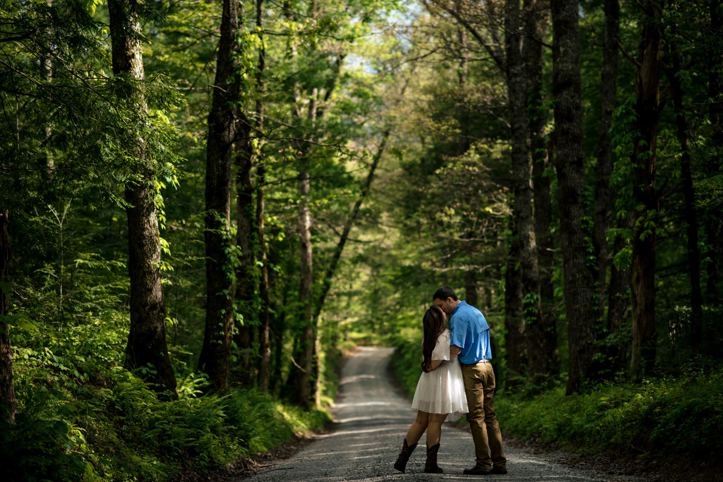 Couple embracing during an engagement photoshoot at cades cove national park