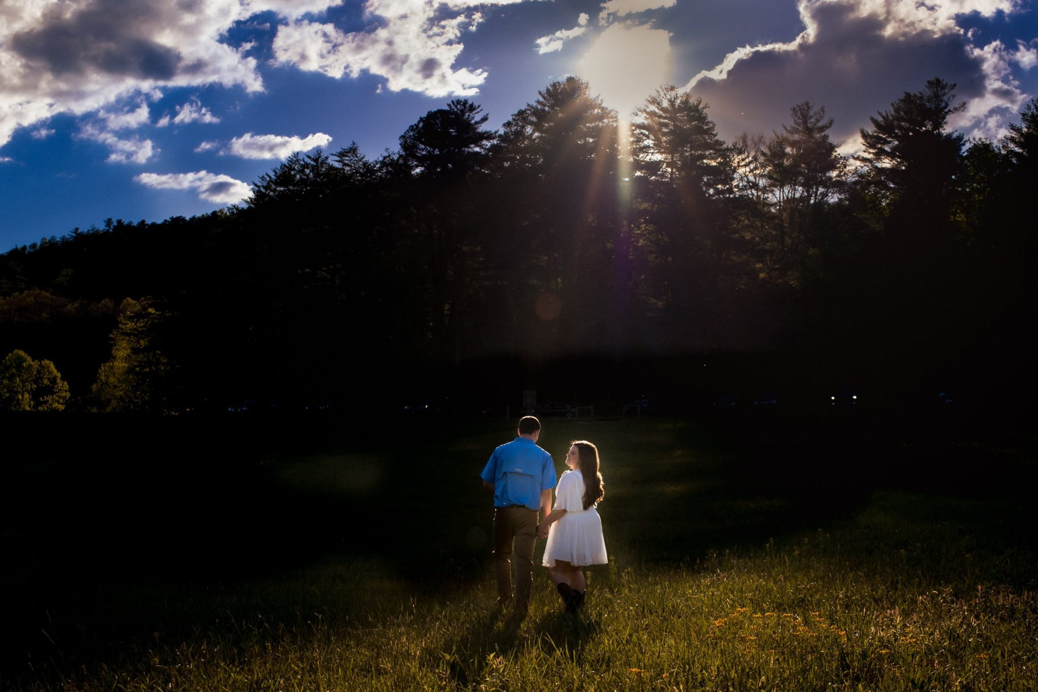 Couple holding hands in a meadow with the sun in the background