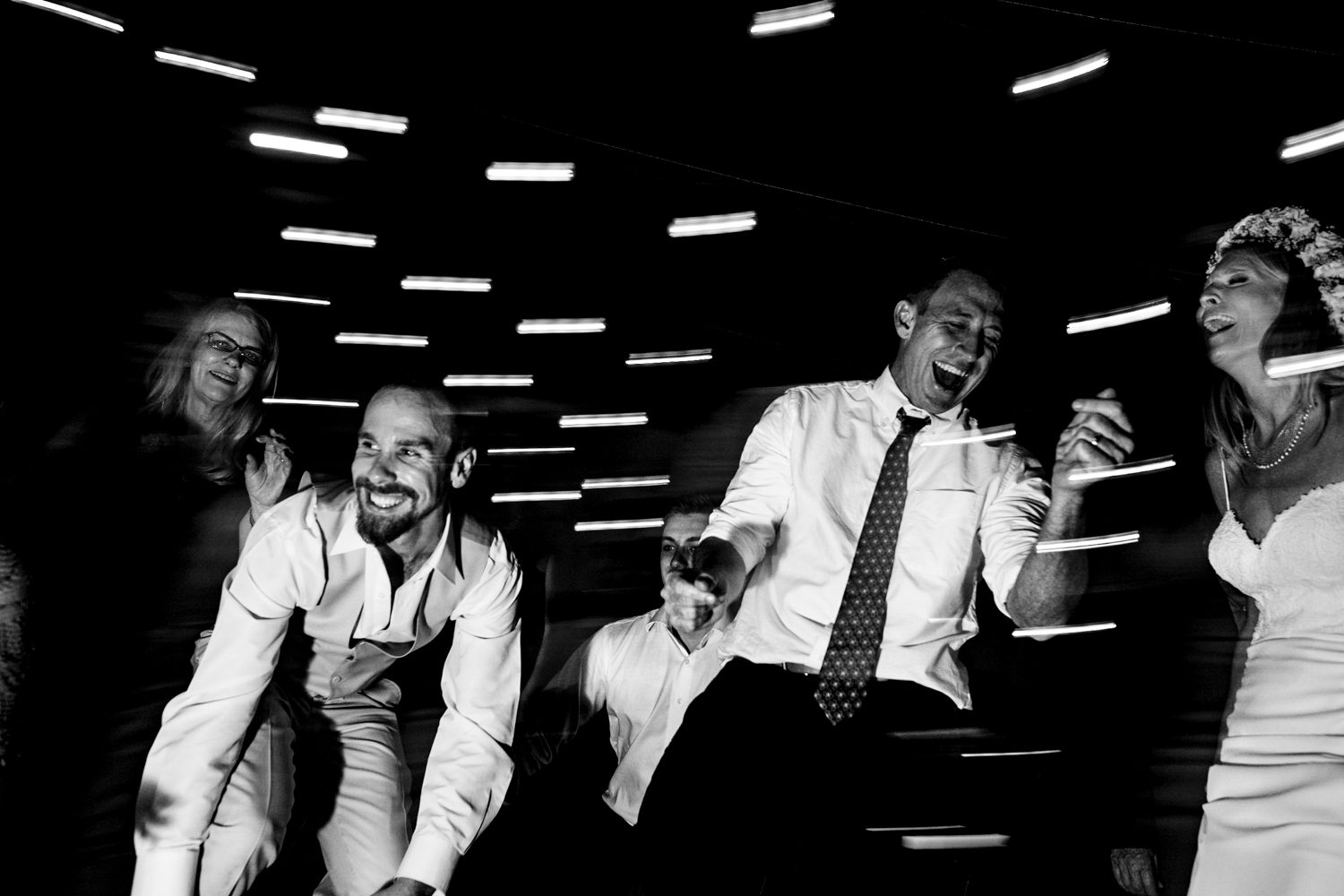 Black and white photo of wedding reception at bagatelle in key west