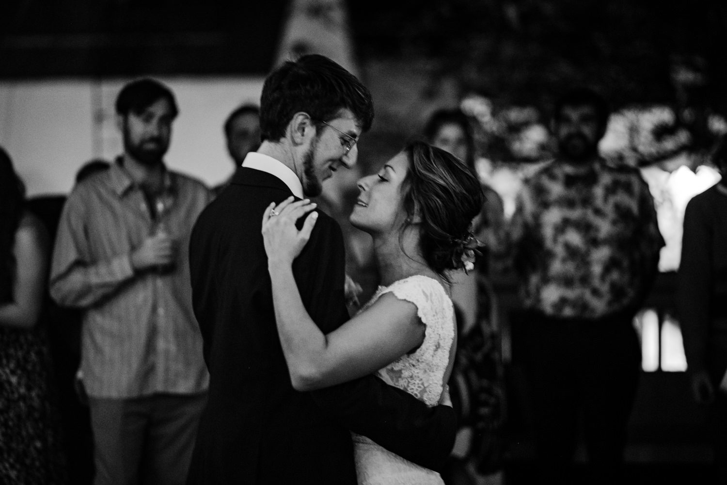 Bride and groom having their first dance at a wedding reception