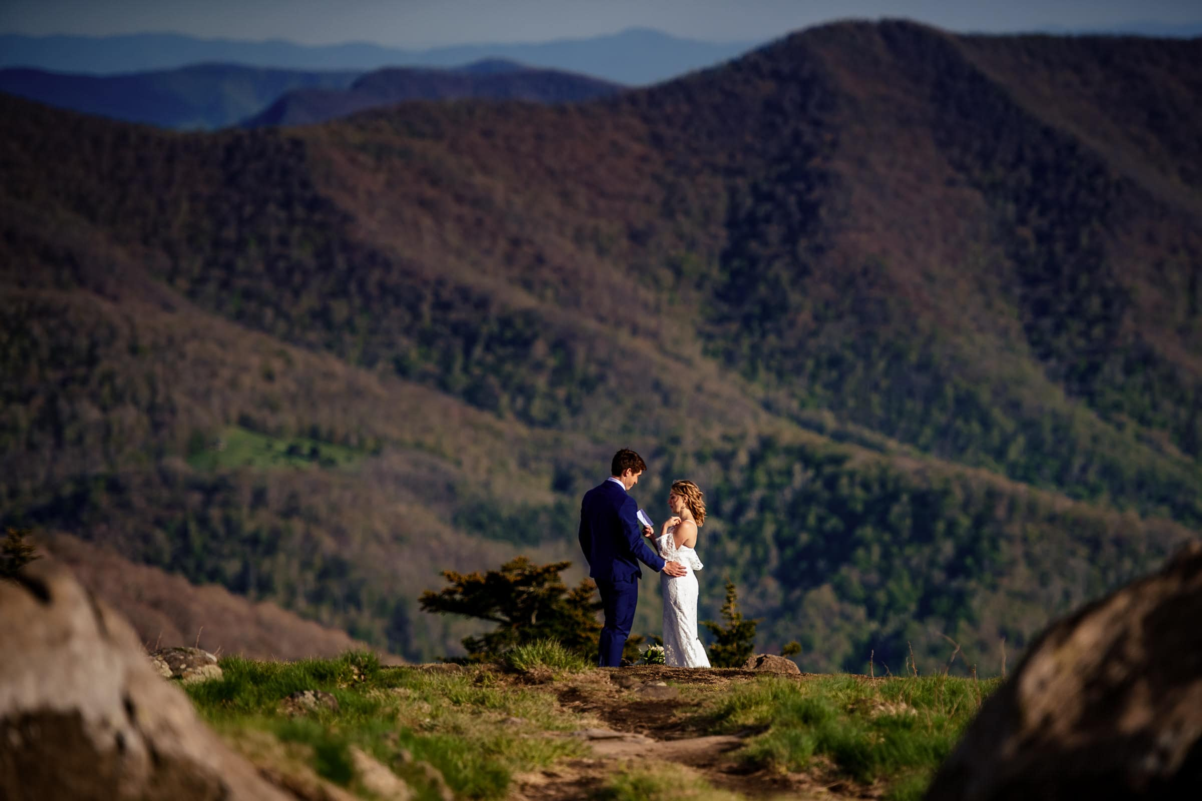 Couple on a path overlooking the