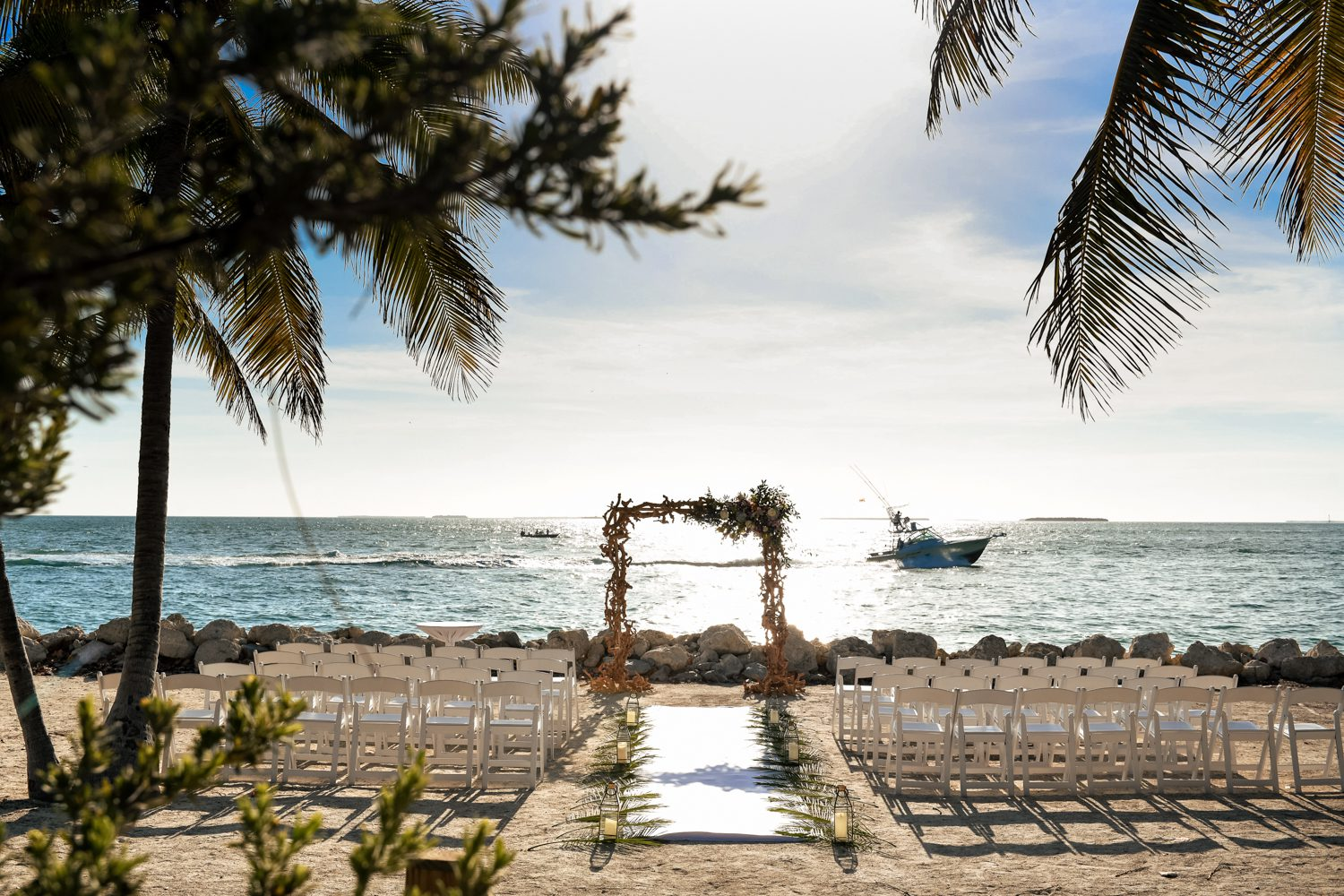 wedding ceremony chairs and aisle at fort zachary taylor