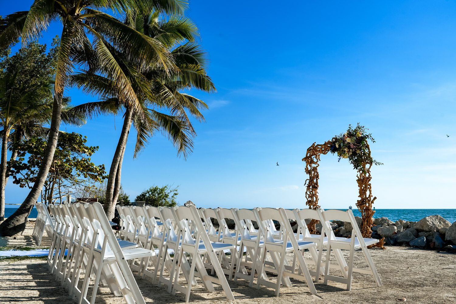 wedding ceremony chairs at at fort zachary taylor