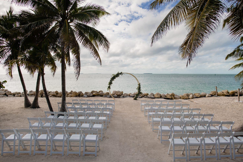 beach wedding setup at at fort zachary taylor