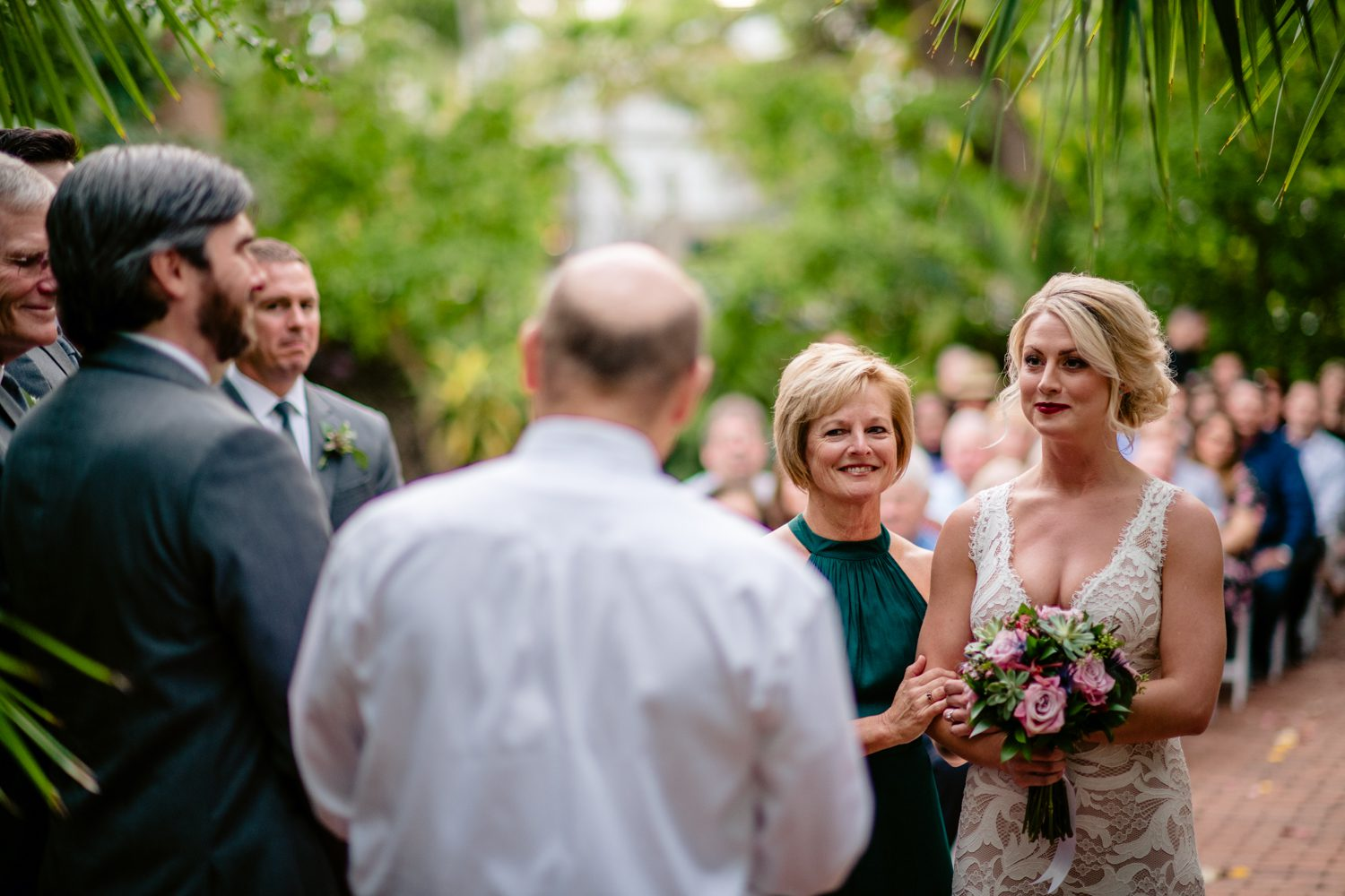 Officiant performing wedding ceremony at hemingway house
