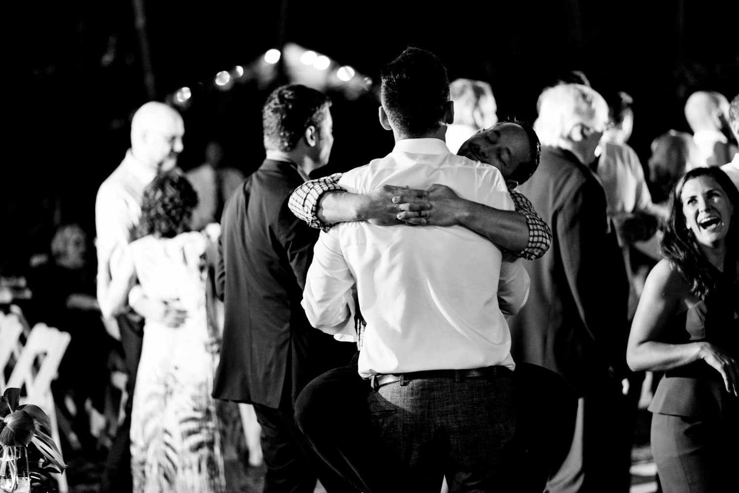 People dancing at a wedding reception at hemingway house in key west