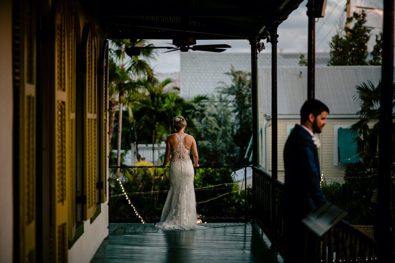 Bride walking down a hallway at hemingway house