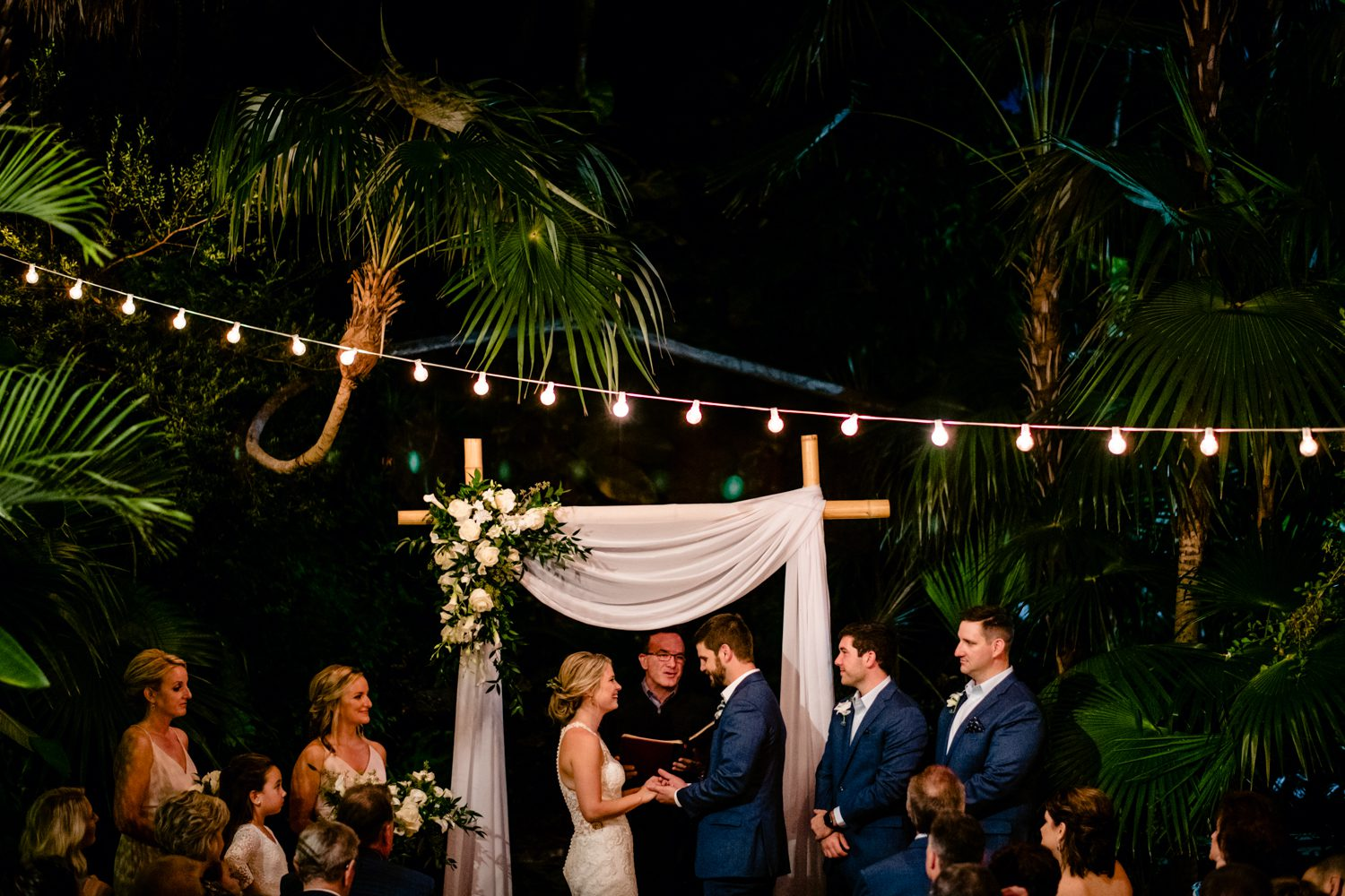 Bride and groom exchanging vows at hemingway house