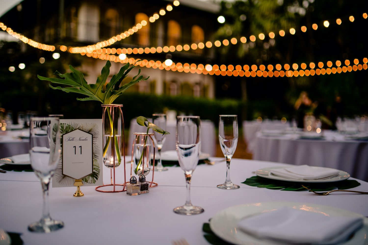Table setting for a wedding reception at hemingway house