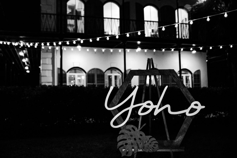outdoor shot of hemingway house wedding reception lighting