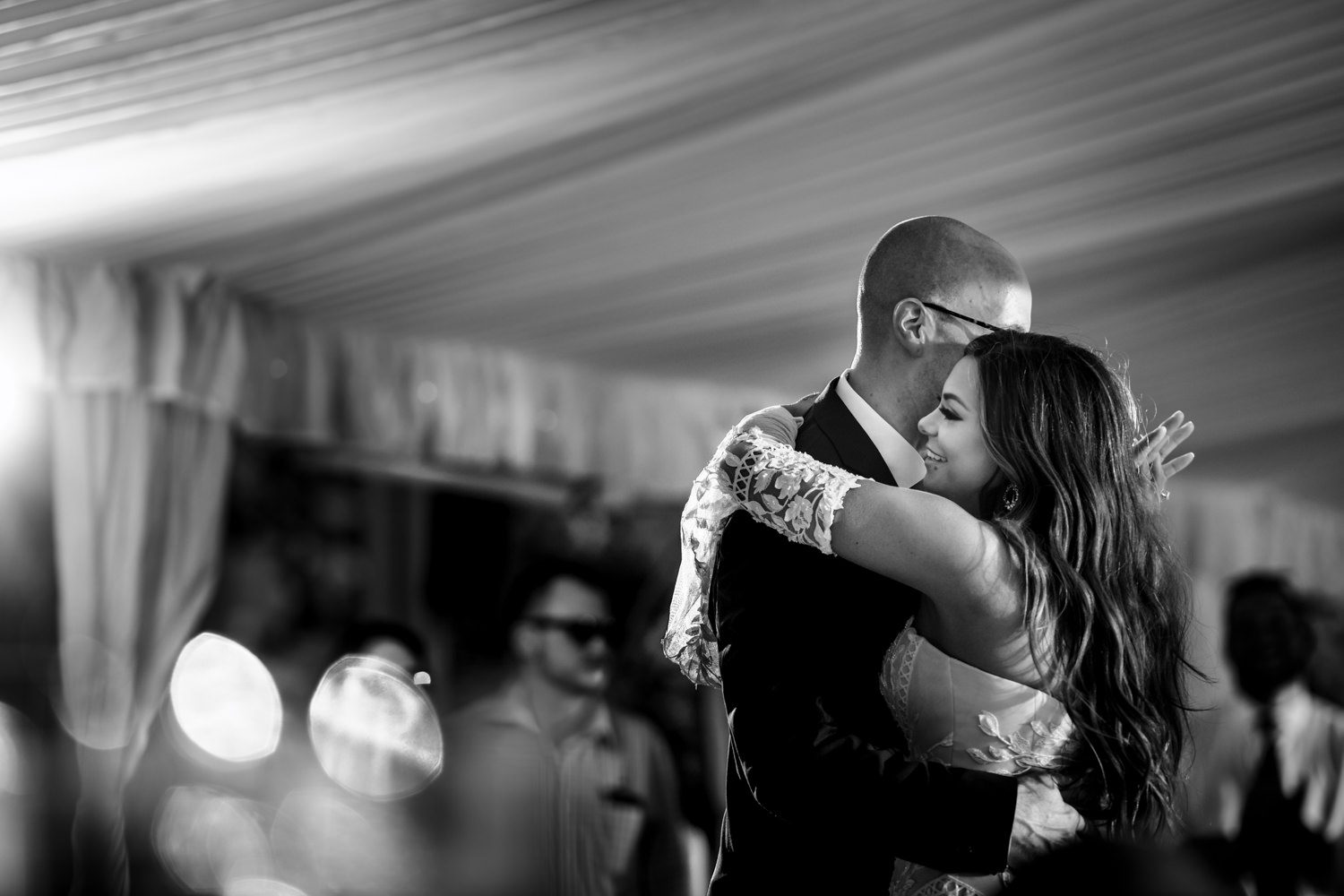 Briede and groom having their first dance after getting married in Asheville NC