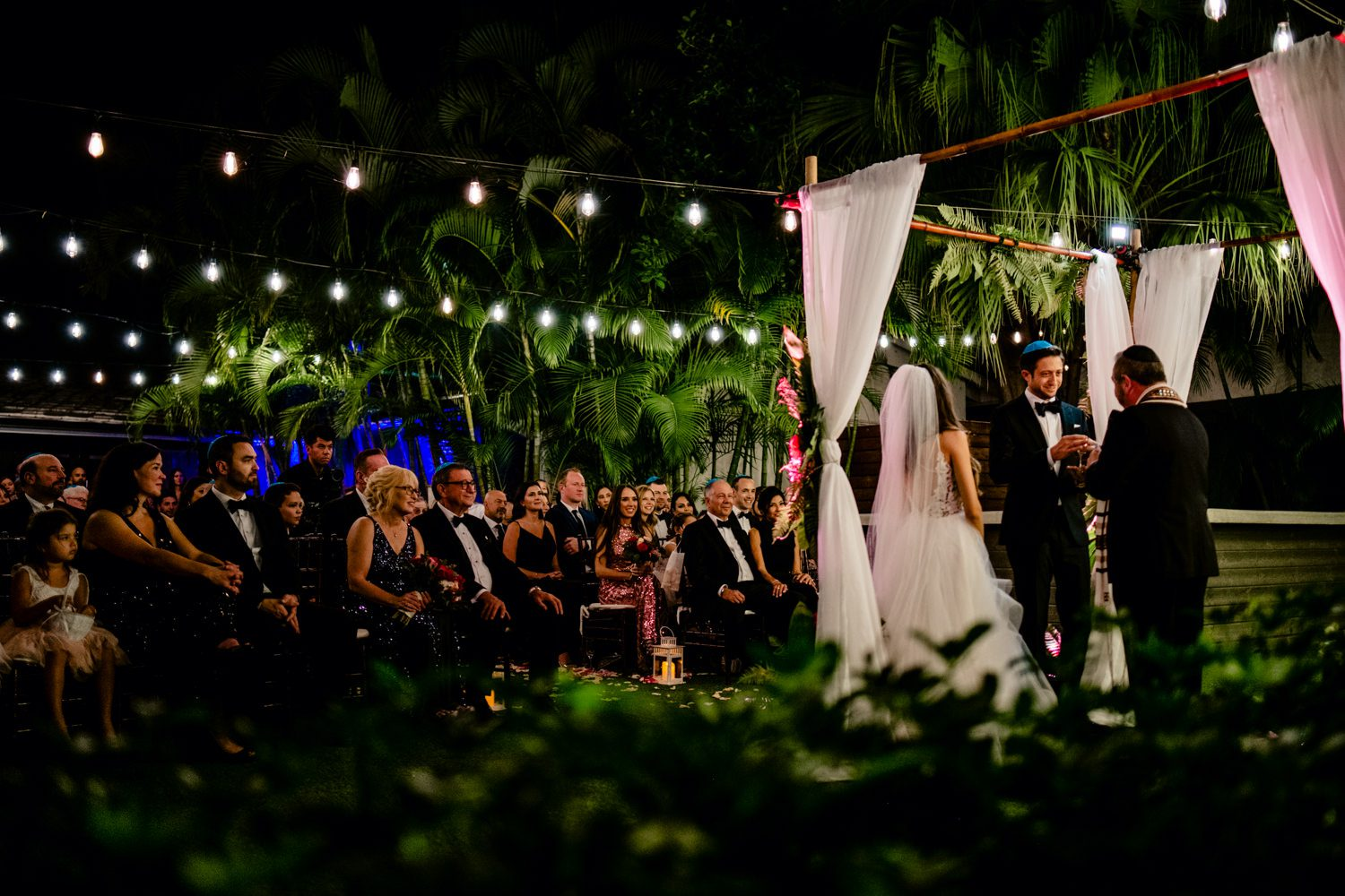 Bride and groom giving a speech at their wedding