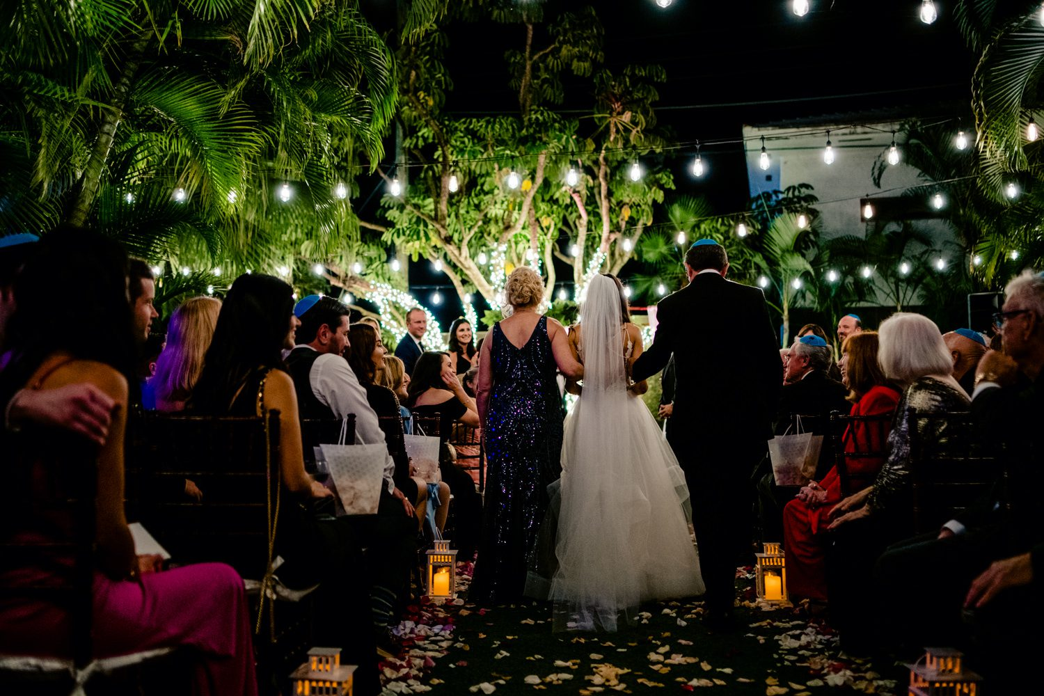 Bride walking down the aisle at her miami wedding