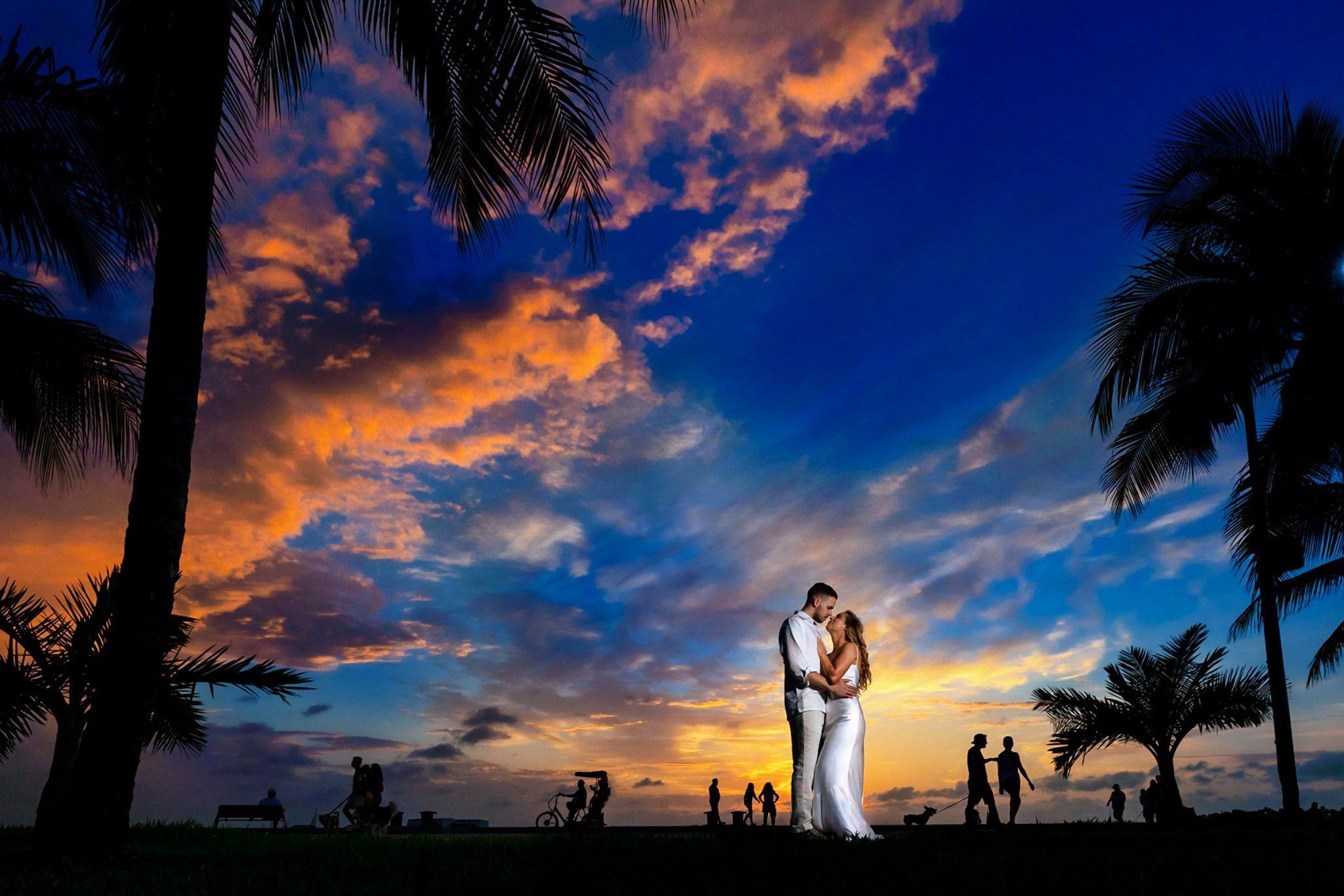 wedding couple at sunset at Truman Annex park key west florida
