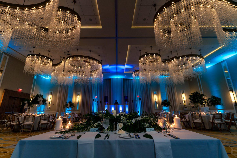 Table settings at wedding reception in playa largo