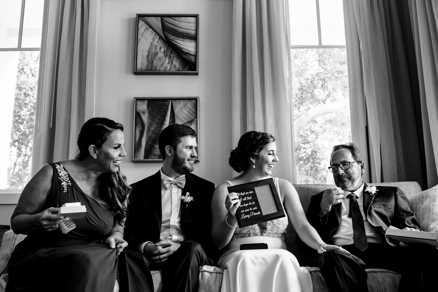 Bride sitting with her family