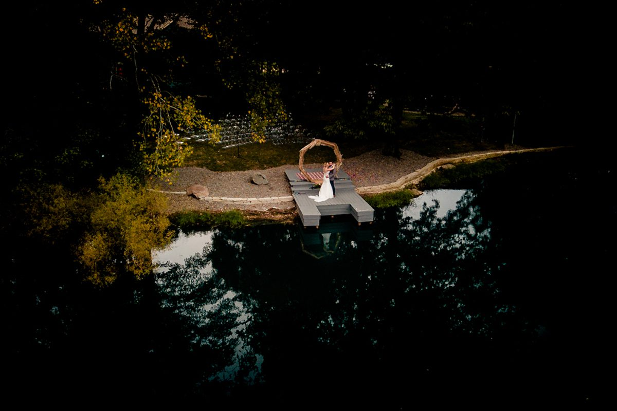 Aerial Photo Of Newly Wedded Couple In Asheville, North Carolina