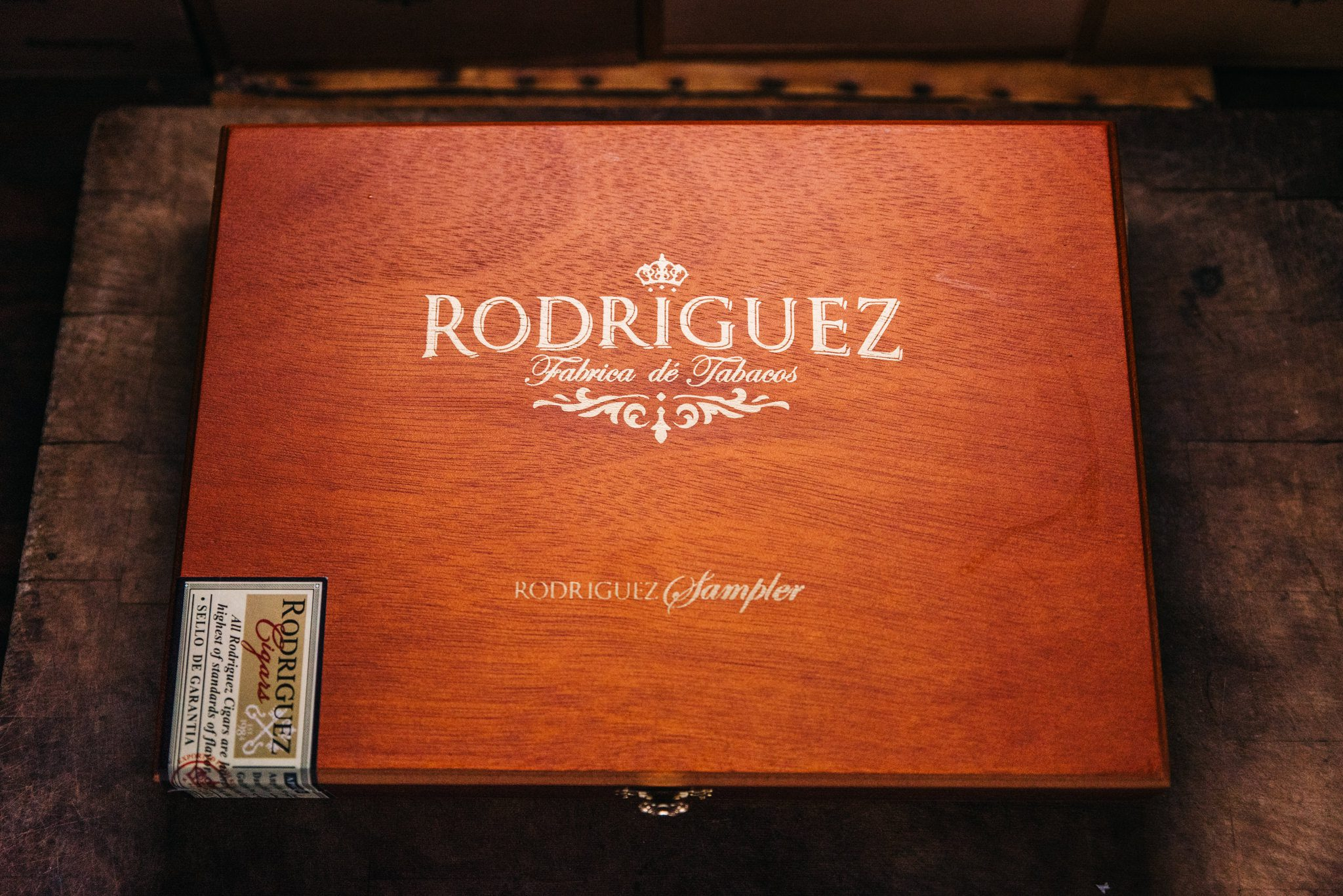 Closeup shot of cigar box for commercial photography