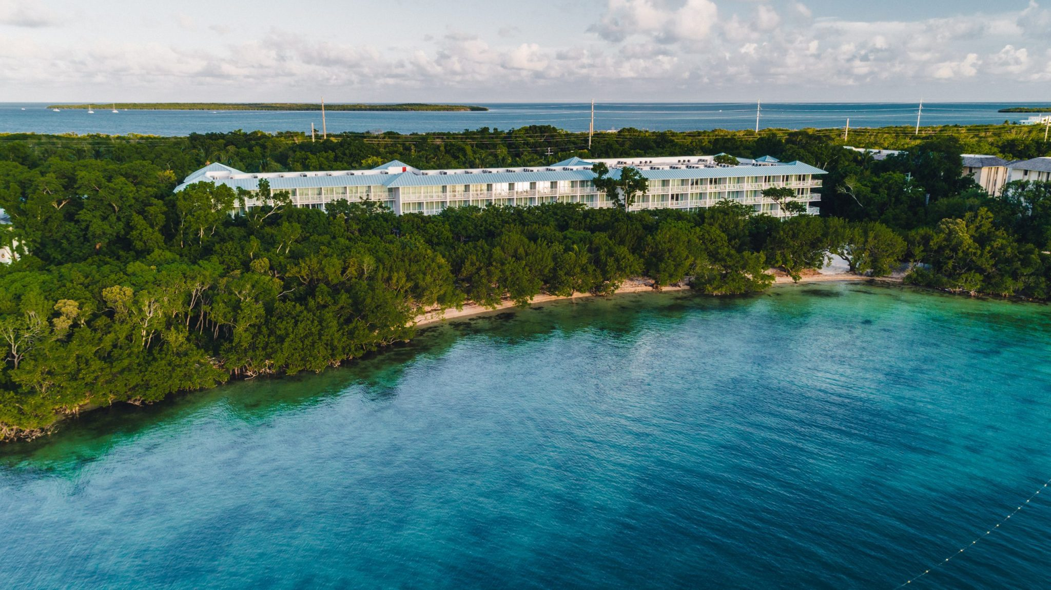Drone photography of a beach front hotel