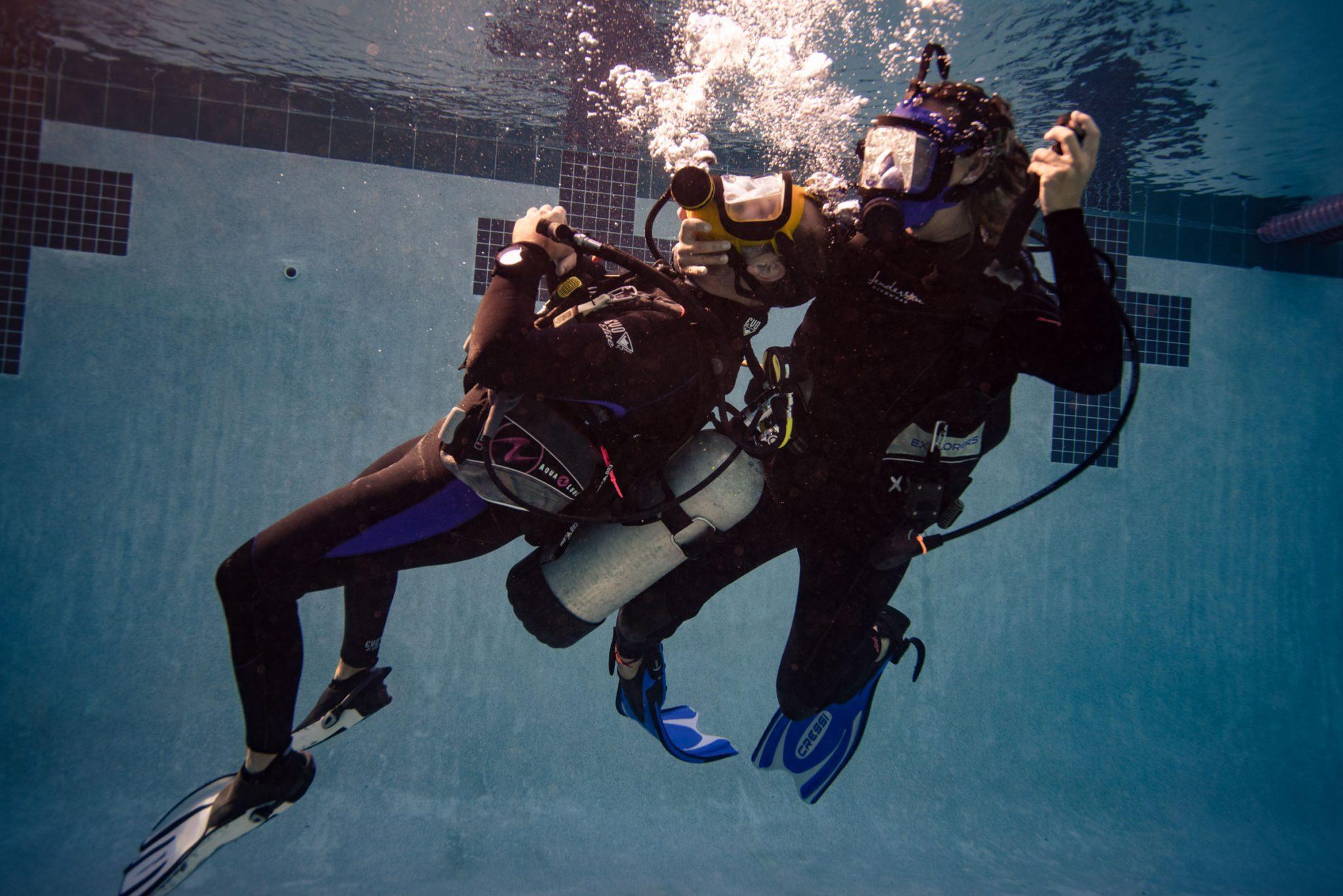 3 people scuba diving underwater