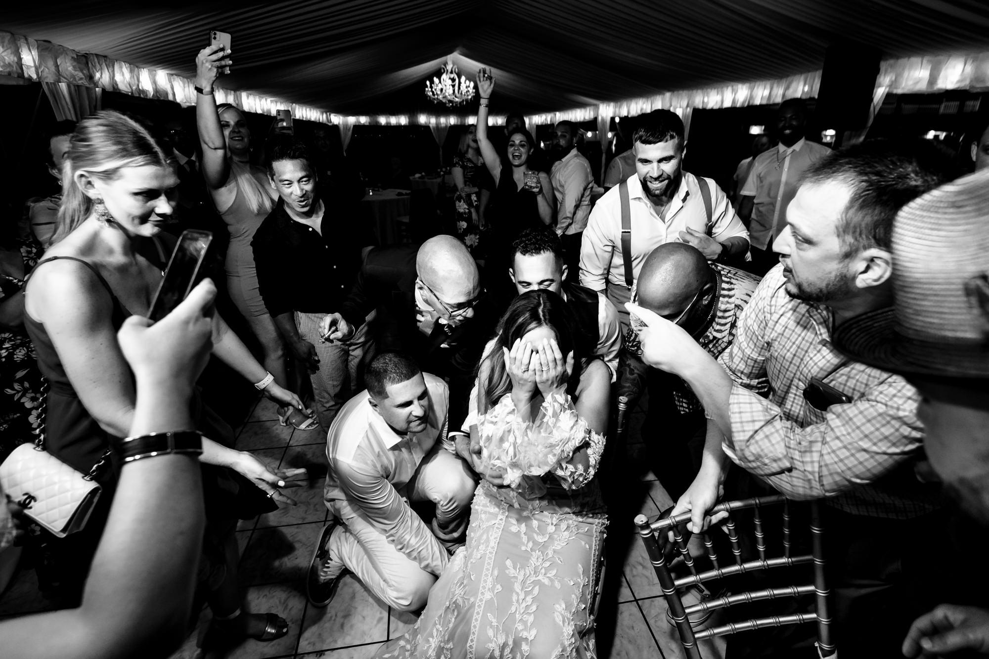 wedding guests having fun at ocean key wedding reception in key west