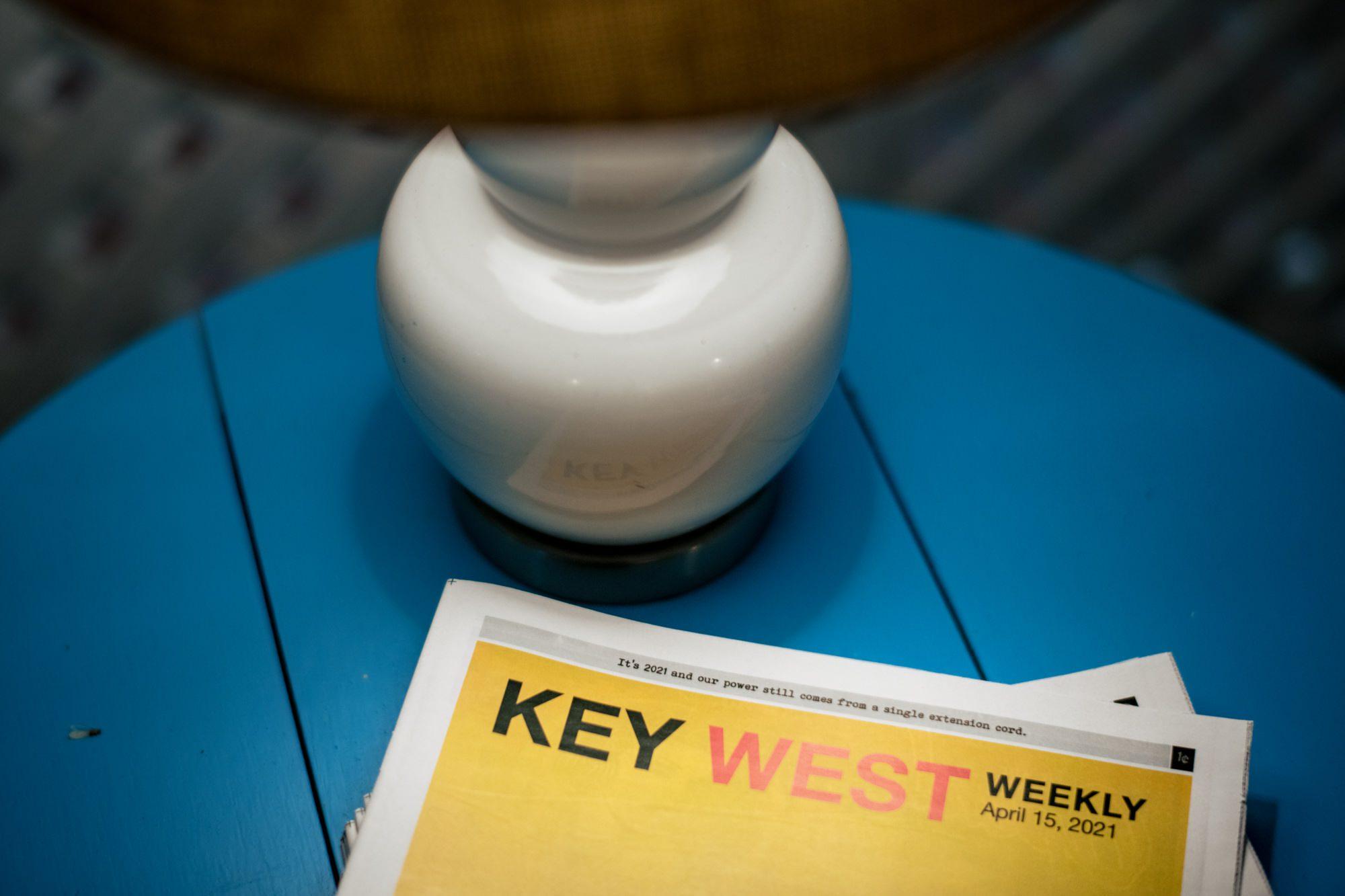 key west weekly paper at ocean key resort on day of wedding