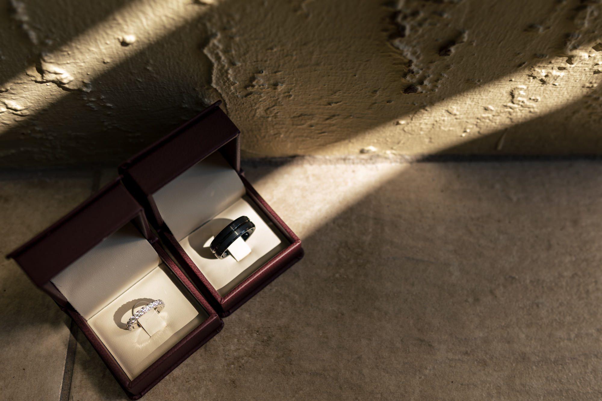 bride and grooms rings in key west