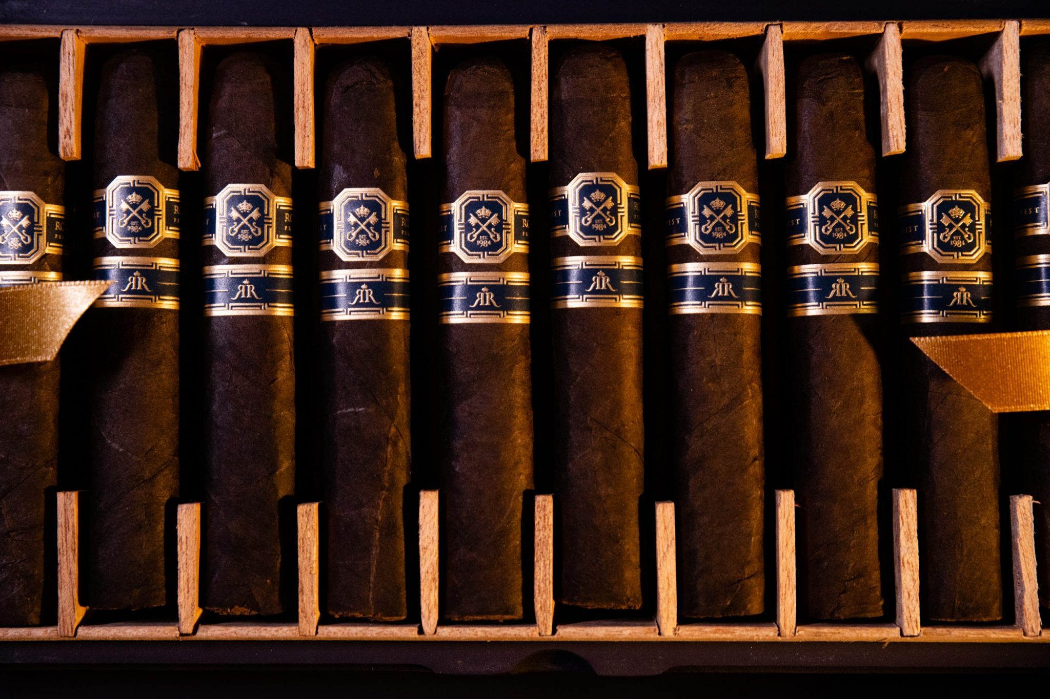 Cigars lined up for a profuct photoshoot