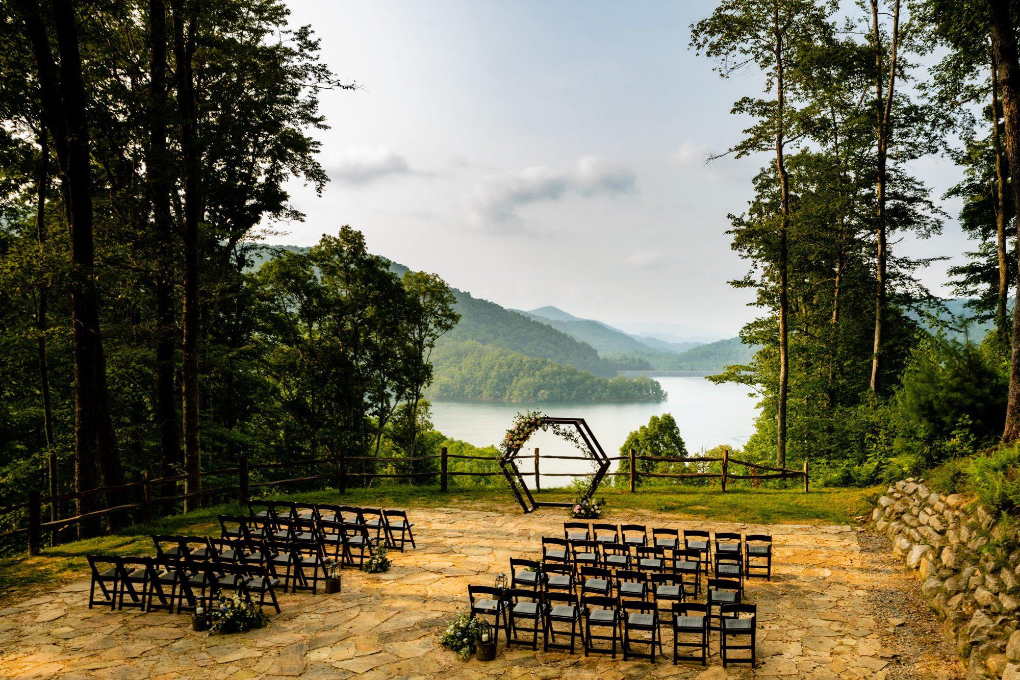 wedding ceremony venue setup at Nantahala weddings and events