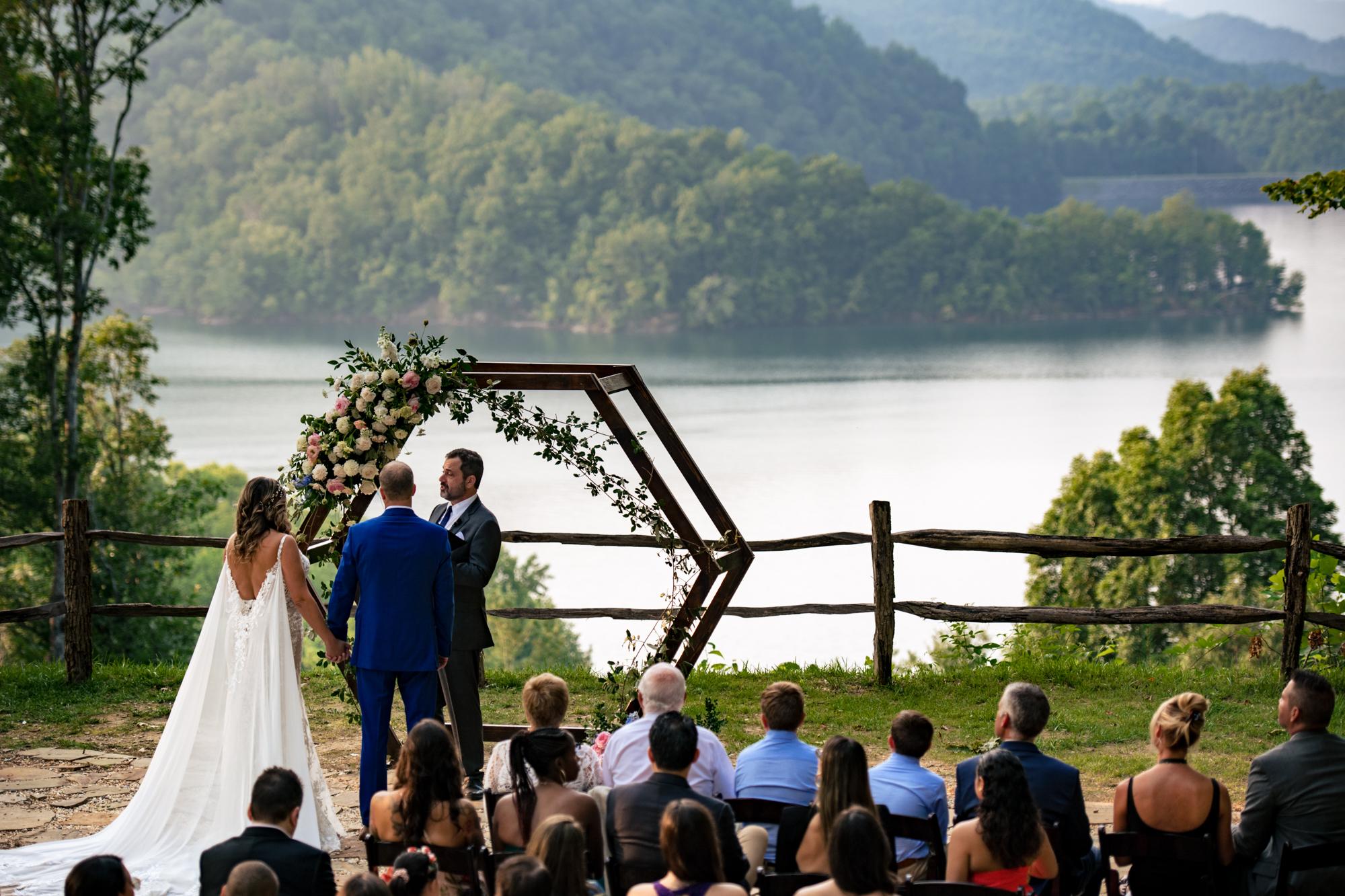 bride and groom at wedding ceremony at venue Nantahala weddings