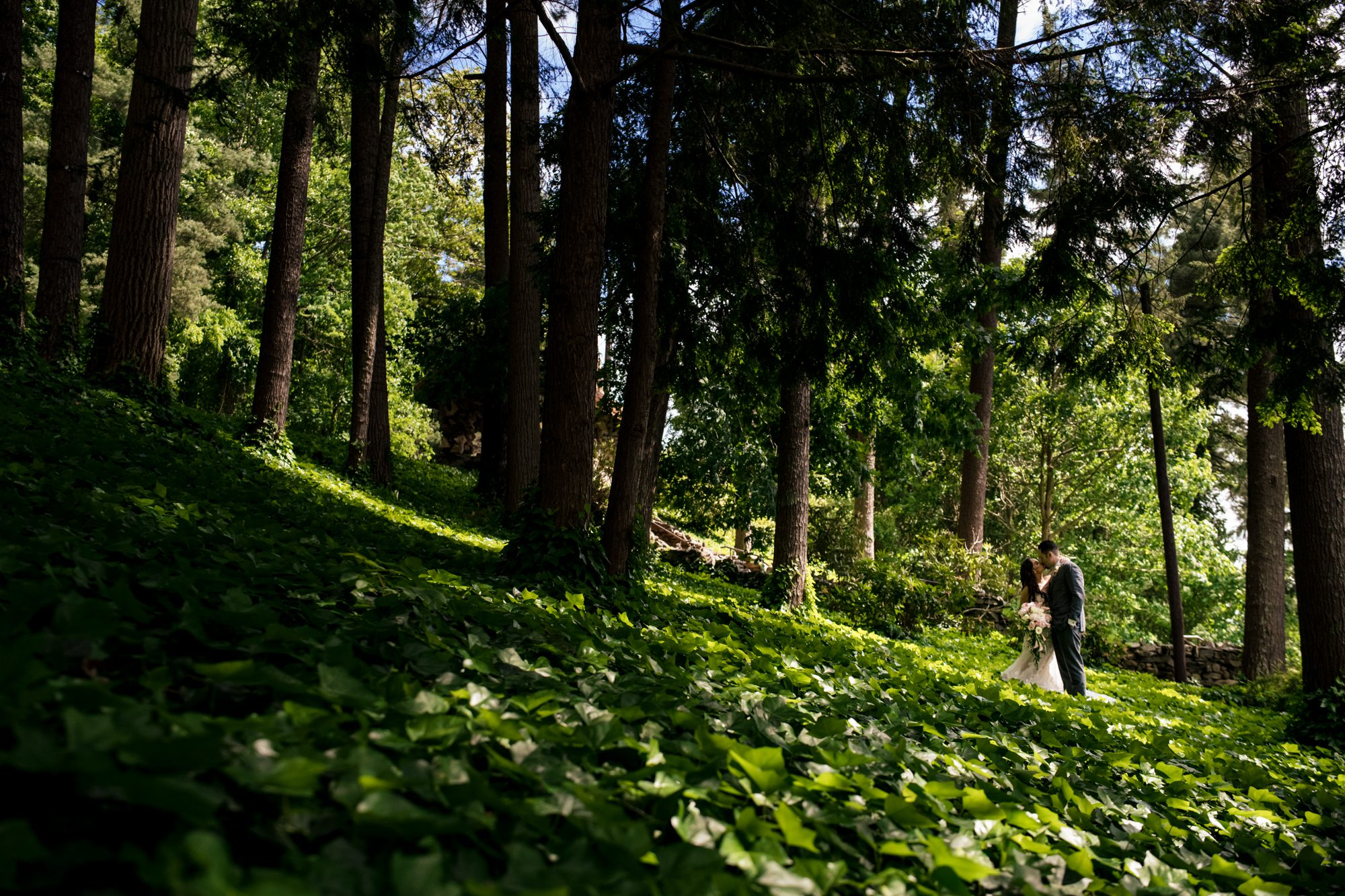 bride and groom in forest at grove park inn wedding