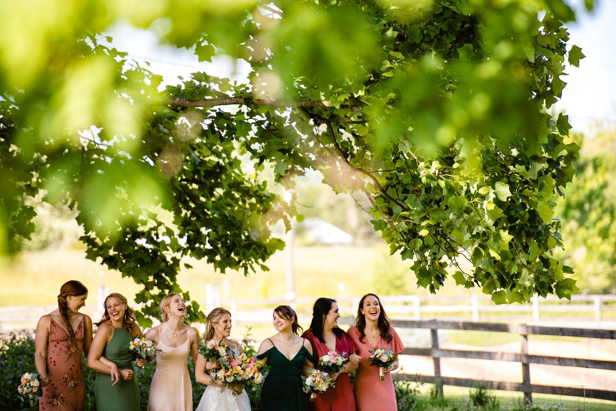 bridesmaids having fun at Asheville wedding