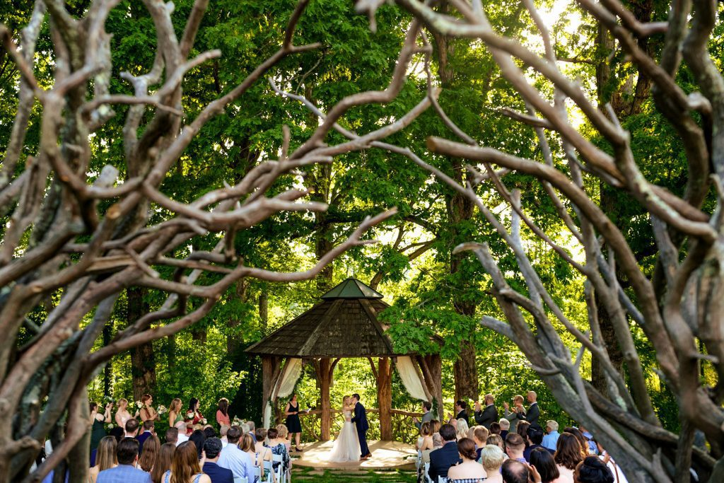 wedding ceremony at The Farm - A Gathering Place in Asheville NC