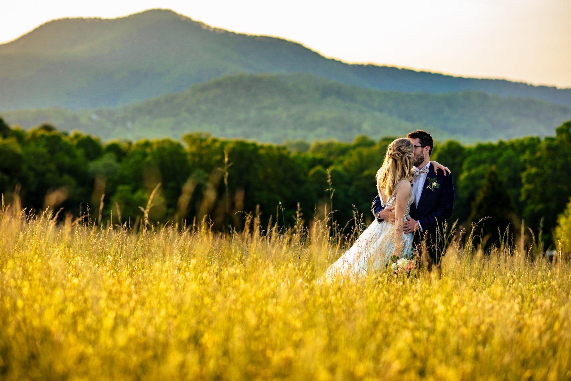 asheville wedding photographer sunset image of wedding couple