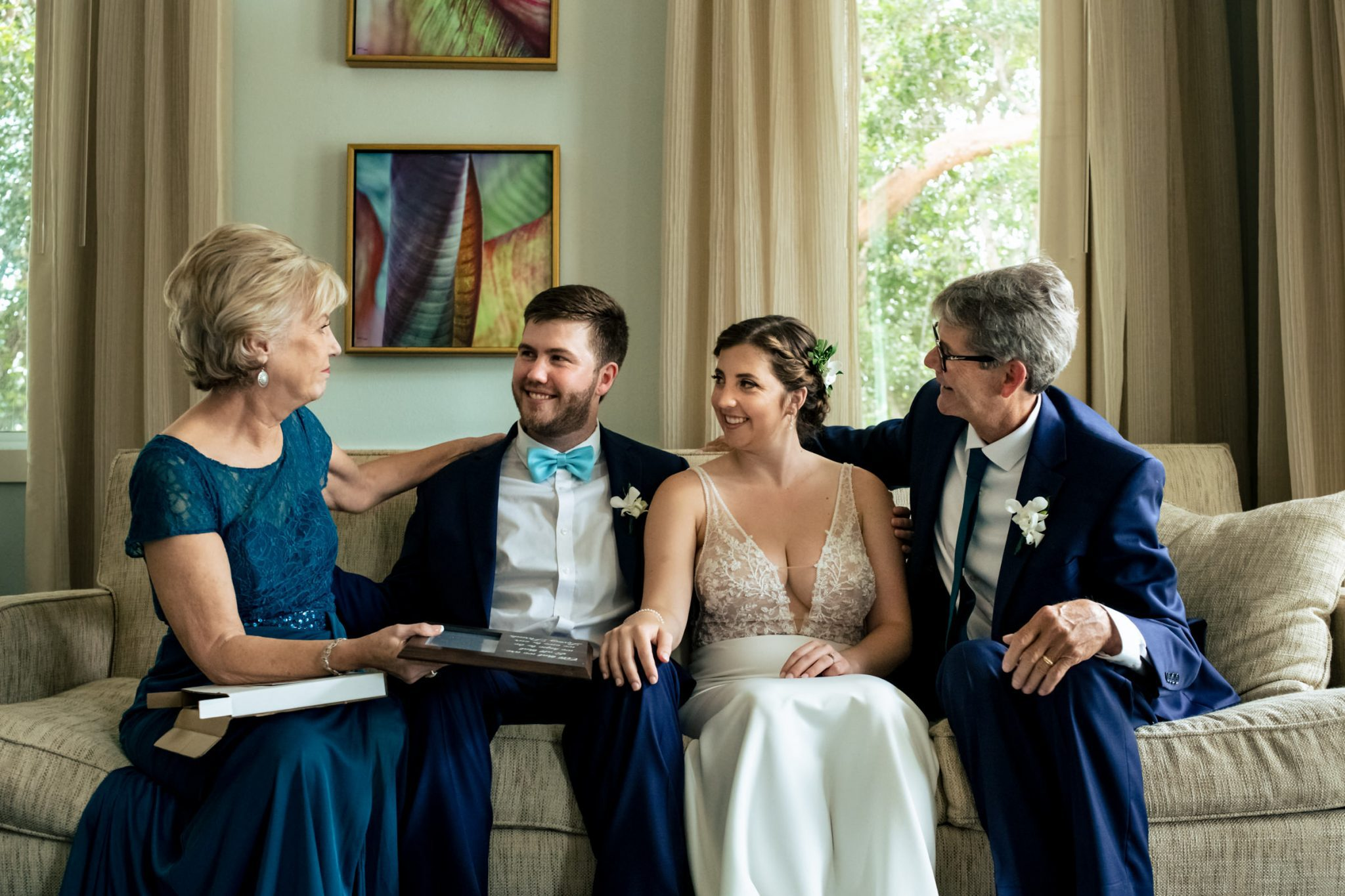 parents with bride and groom before wedding playa largo resort wedding
