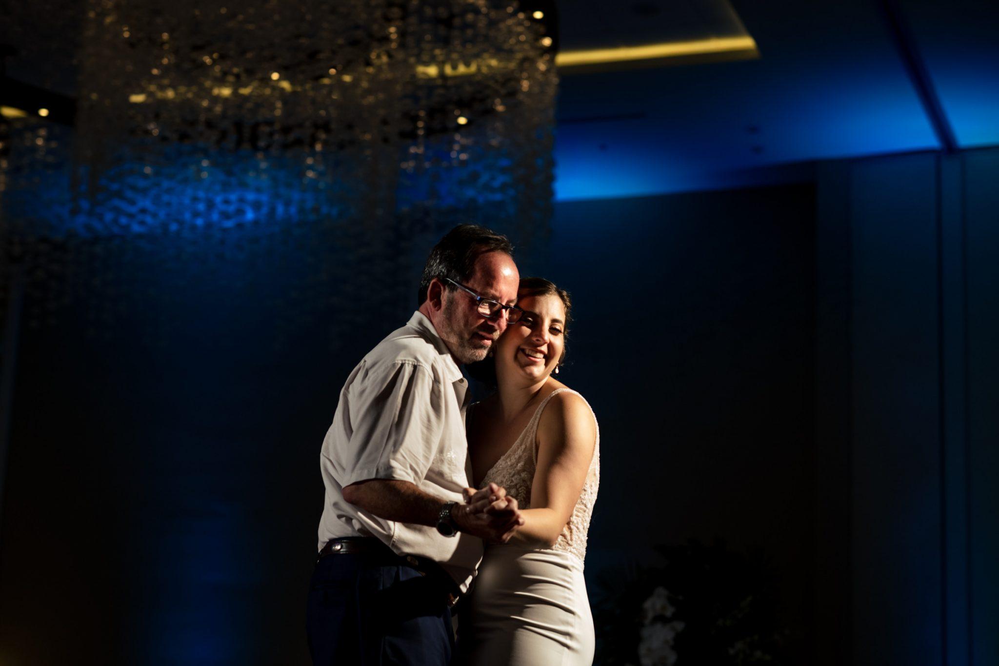 father of bride dancing with daughter playa largo resort wedding