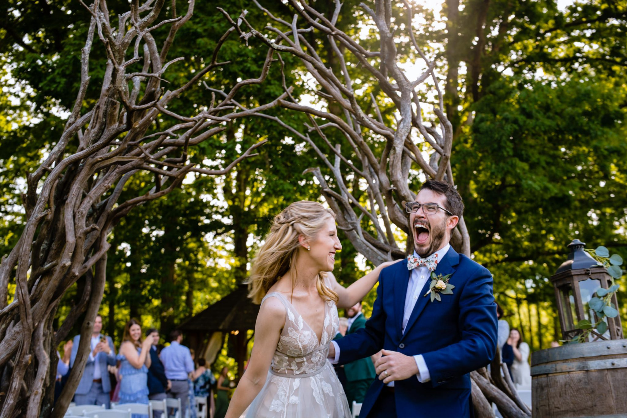just married couple laughing asheville wedding at the farm wedding venue