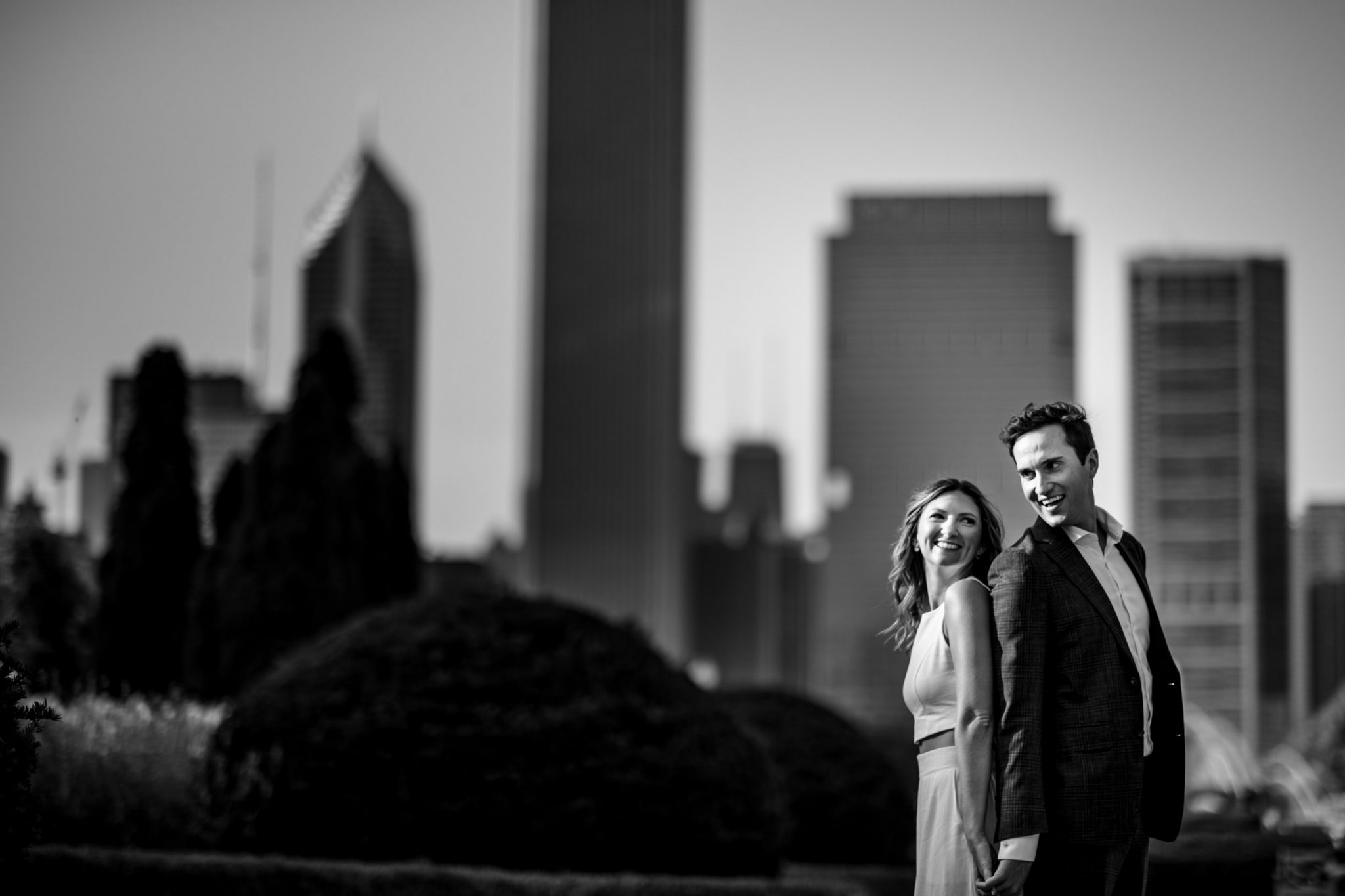 couple at grant park during Chicago engagement session