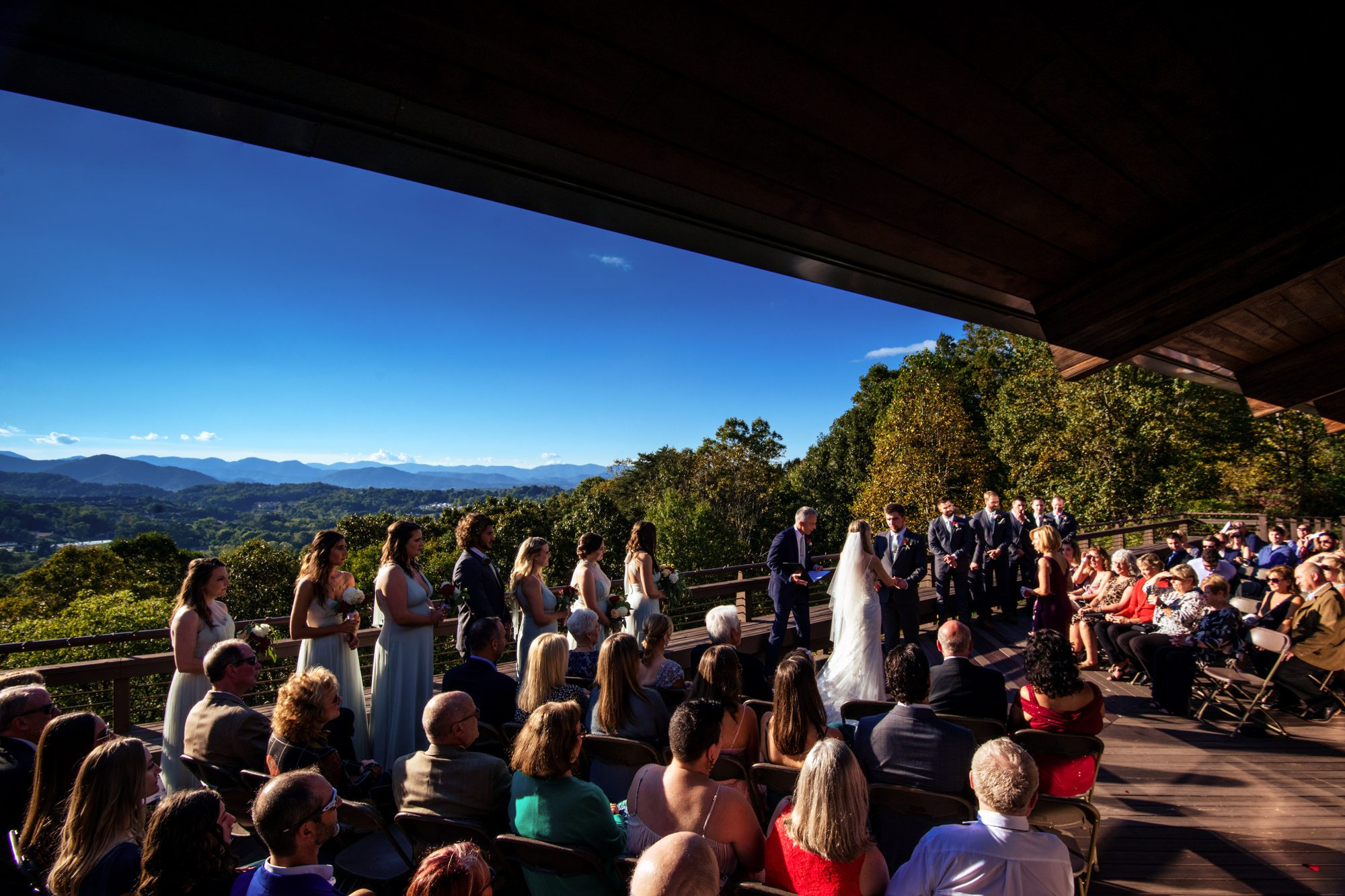 fall mountain wedding ceremony at crest center asheville nc