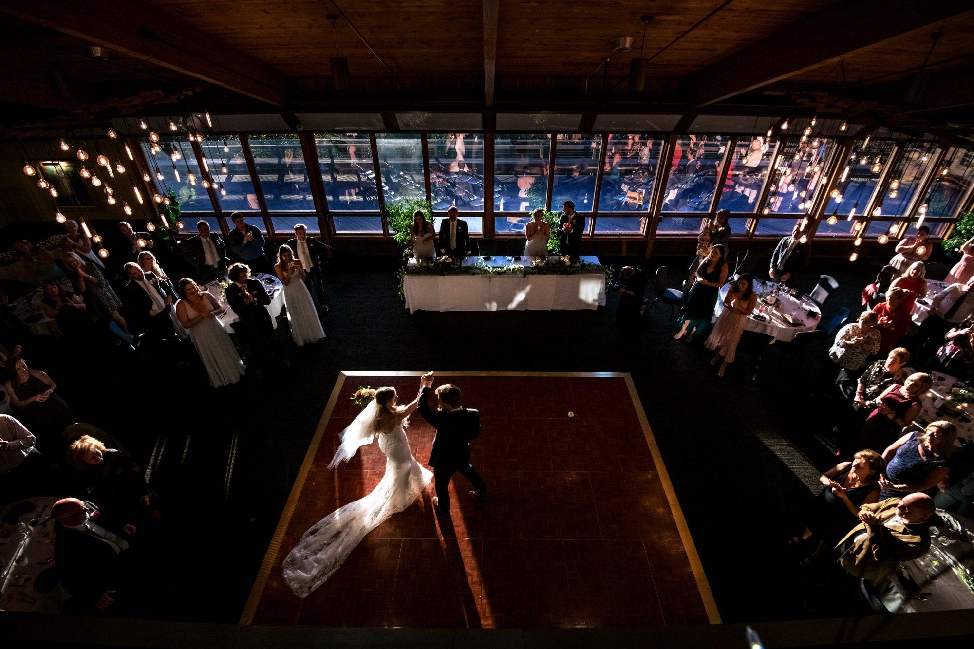 bride and groom first dance crest center wedding asheville nc