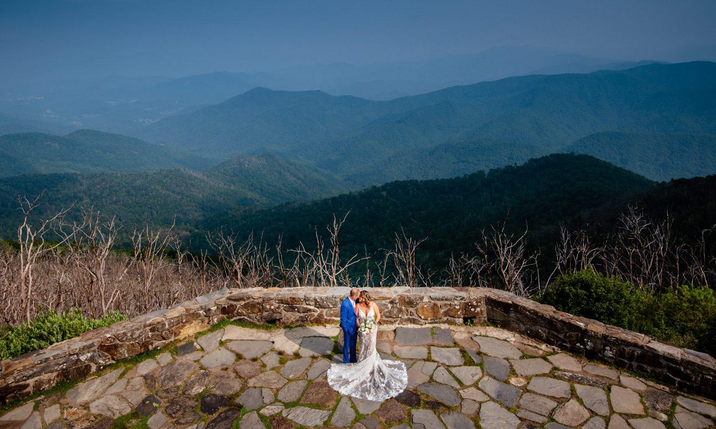 bride and groom at Wayah bald lookout tower Nantahala weddings